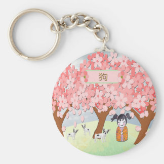 Jack Russell Terriers, Chinese Girl, Plum Tree Key Ring