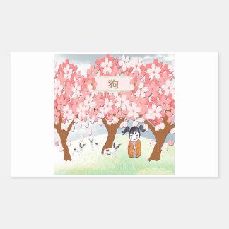 Jack Russell Terriers, Chinese Girl, Plum Tree Rectangular Sticker