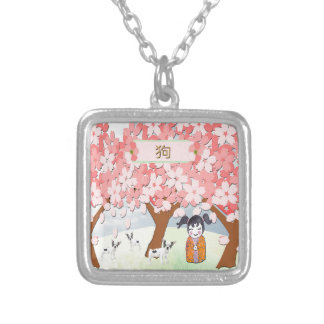 Jack Russell Terriers, Chinese Girl, Plum Tree Silver Plated Necklace