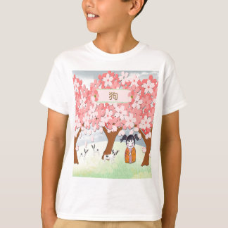 Jack Russell Terriers, Chinese Girl, Plum Tree T-Shirt
