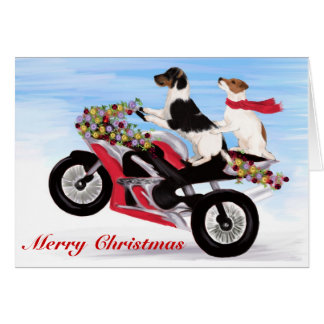 Jack Russell Terriers riding a motorcycle Greeting Card