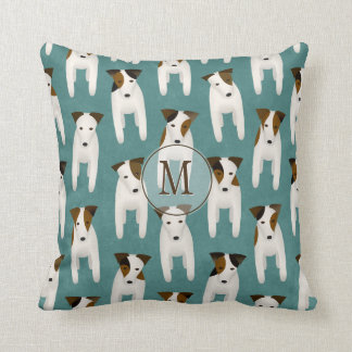 Jack Russell Terriers variety pattern monogrammed Throw Pillow