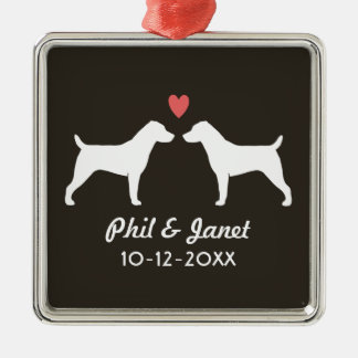 Jack Russell Terriers with Heart and Text Metal Ornament
