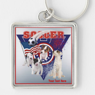 Jack Russell US Flag Soccer Design – Customize It Silver-Colored Square Key Ring