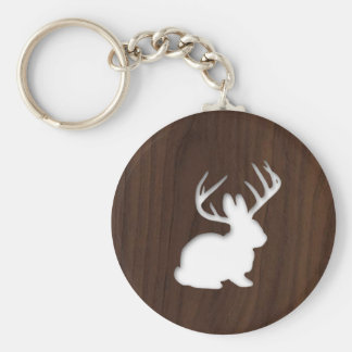 Jackalope on Dark Brown Wood Key Ring