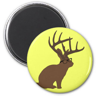 jackalope with glasses magnet