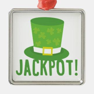 Jackpot Silver-Colored Square Decoration