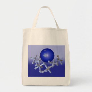 Jacks and Ball Tote Old Fashioned Retro Toy Blue Grocery Tote Bag