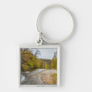 Jacks Fork Autumn Silver-Colored Square Key Ring