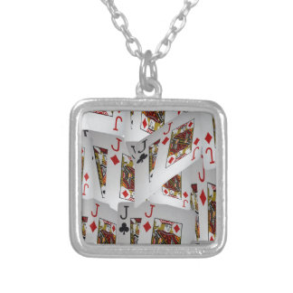Jacks In A Layered Pattern,_ Silver Plated Necklace