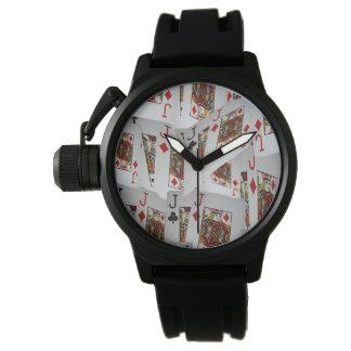 Jacks In Pattern, Mens Black Rubber Strap Watch. Watch