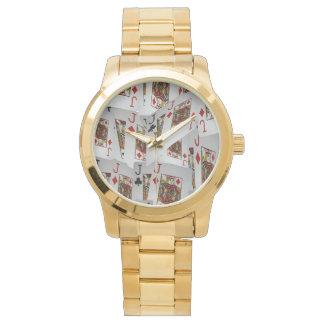 Jacks In Pattern, Unisex Large Gold Watch. Watch