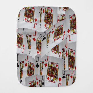 Jacks Poker Cards Layered Pattern, Burp Cloth