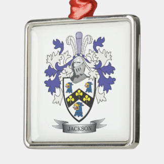 Jackson Coat of Arms Silver-Colored Square Decoration