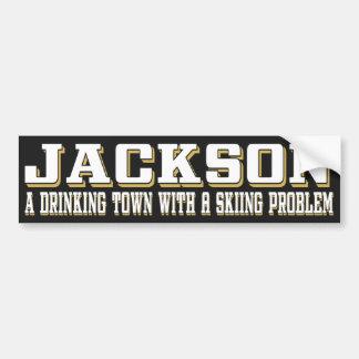 Jackson Drinking & Skiing Sticker Bumper Sticker