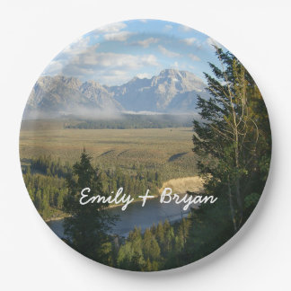 Jackson Hole Mountains and River Paper Plate