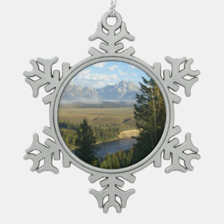 Jackson Hole Mountains and River Snowflake Pewter Christmas Ornament