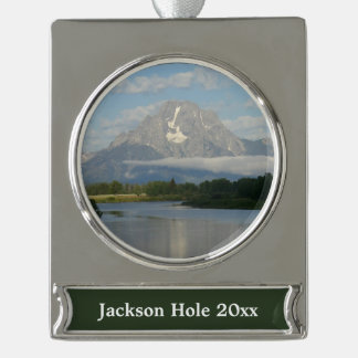 Jackson Hole River Silver Plated Banner Ornament