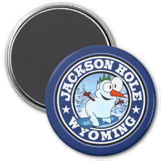 Jackson Hole Snowman CIrcle Magnet