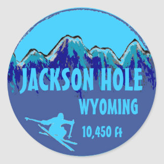 Jackson Hole Wyoming blue ski art stickers