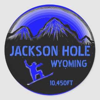 Jackson Hole Wyoming blue snowboard art stickers