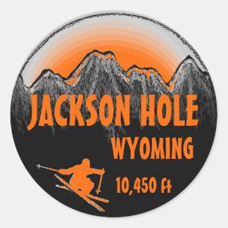 Jackson Hole Wyoming orange ski art stickers