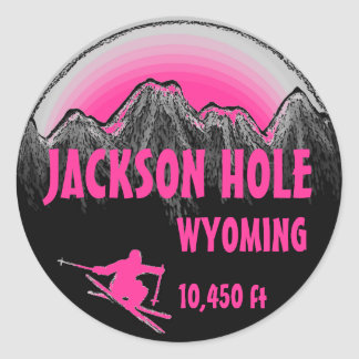 Jackson Hole Wyoming pink ski art stickers