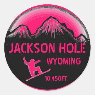 Jackson Hole Wyoming pink snowboard art stickers