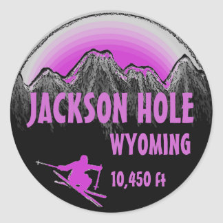 Jackson Hole Wyoming purple ski art stickers