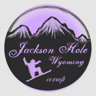 Jackson Hole Wyoming purple snowboard art stickers