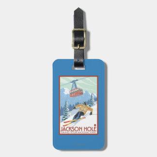 Jackson Hole, Wyoming Skier and Tram Luggage Tag