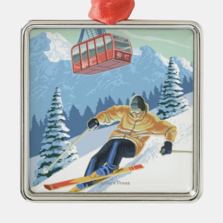 Jackson Hole, Wyoming Skier and Tram Metal Ornament
