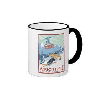 Jackson Hole, Wyoming Skier and Tram Coffee Mug