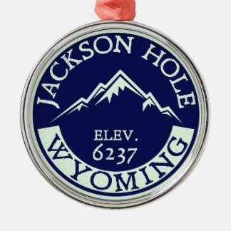 Jackson Hole Wyoming Skiing Hiking Snowboard Metal Ornament