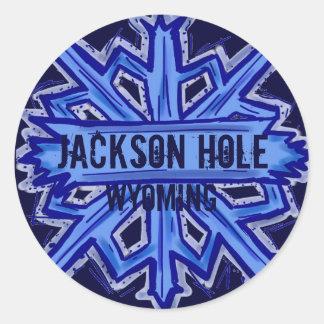 Jackson Hole Wyoming snowflake round stickers