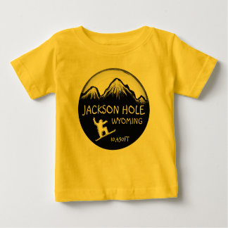 Jackson Hole Wyoming yellow baby snowboard art tee