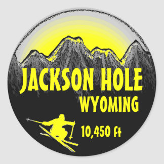 Jackson Hole Wyoming yellow ski art stickers