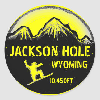 Jackson Hole Wyoming yellow snowboard art stickers