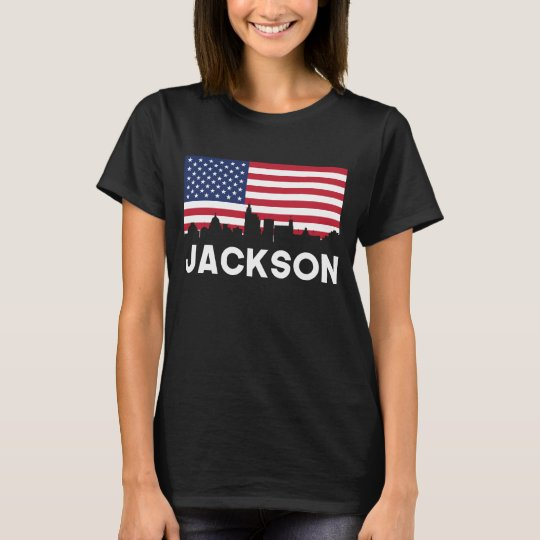 Jackson MS American Flag Skyline T-Shirt