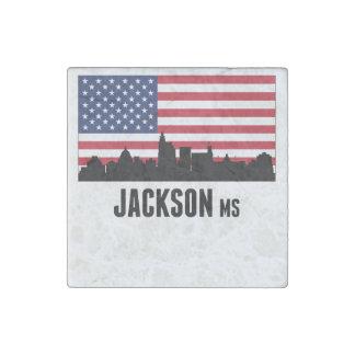 Jackson MS American Flag Stone Magnet