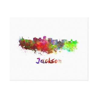 Jackson skyline in watercolor canvas print