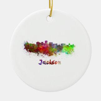 Jackson skyline in watercolor ceramic ornament