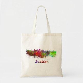 Jackson skyline in watercolor tote bag