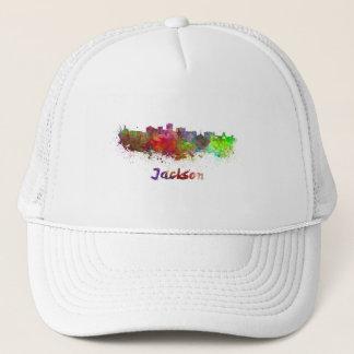 Jackson skyline in watercolor trucker hat
