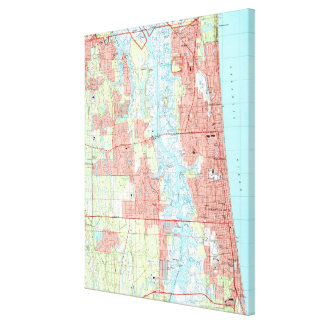 Jacksonville Beach and Atlantic Beach Florida Map Canvas Print