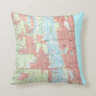 Jacksonville Beach and Atlantic Beach Florida Map Cushion