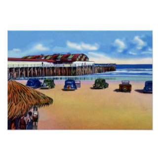 Jacksonville Beach Florida Dancing and Fishing Pie Poster