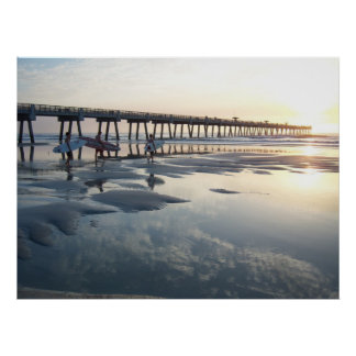 Jacksonville Beach, Florida - Surfer Sunrise Poster