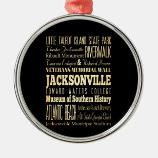 Jacksonville City of Florida State Typography Art Metal Ornament