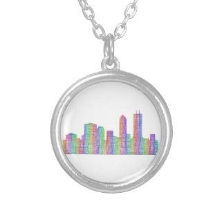 Jacksonville city skyline silver plated necklace